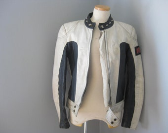 1990 Vintage Motocross Black and White Motorcycle Jacket, Moto, Racing, Cafe Racer, Biker, Rocker