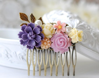 Purple Lilac Ivory Pink Flower Bridal Hair Comb. Vintage Style Collage Hair Comb, Filigree Hair Comb, Purple Wedding Hair Accessory
