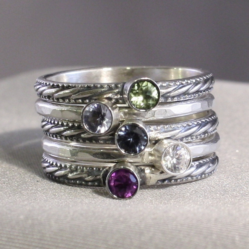5 stacking rings with birthstones mother 39 s rings family. Black Bedroom Furniture Sets. Home Design Ideas