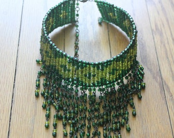 Vintage 90's Green and Yellow Beaded Fringe Choker
