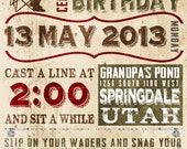 Fishing Birthday Invitation - Poster Style - Customizable - Print Your Own