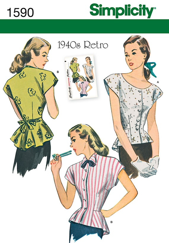 1940s Inspired Misses Princess Seam Peplum Blouse Sewing Pattern, Simplicity 1590 or 0229 Sizes 16, 18, 20, 22, 24 uncut