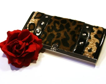 Leopard Wallet with Your Choice of Vinyl Trim, Rockabilly, Retro, Pin Up, Animal Print - MADE TO ORDER