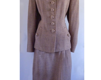 1940's -1950's Nubby Wool Bombshell Hollywood Movie Star Glamour Pin up suit