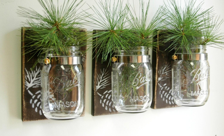 Mason Jar Wall Decor Hobby Lobby : Pinecone wall decor trio three mason jars mounted on recycled