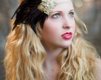 1920s Dress Accessory, Gatsby Headpiece, 1920s Bridal Headpiece, Flapper Headband, 1920s Headband Gold, Roaring 20's Headband, Downton Abbey