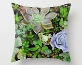 Succulents Pillow Cover, Plants pillow case, Succulent Garden, Botanical Plant Home decor