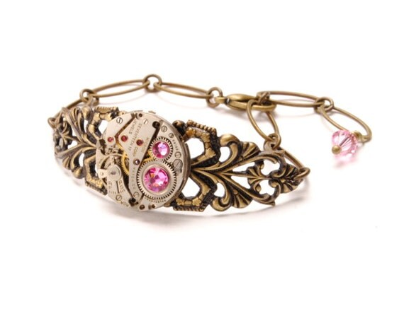 OCTOBER Steampunk Bracelet Tourmaline Pink Steam Punk Bracelet Steampunk Watch Bracelet Antique Brass Steampunk Jewelry VictorianCuriosities