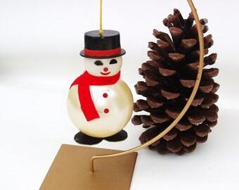 Vintage Glass Snowman, Snow Man Hanging Ornament, Blown Glass Figurine - Winter Decor - Black Top Hat