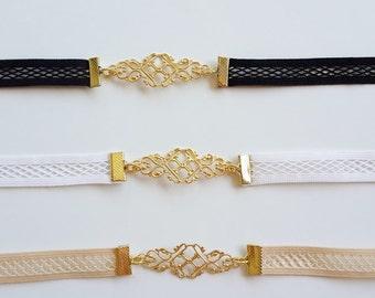 Bridal Belt - Elastic Net Lace Belt - Gold Belt - Wedding Dress Belt - Wedding Accessories - Strech Belt - Skinny Belt