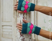 wristers warmers Knit Pattern Fingerless Geometric mittens  PDF - woman mittens gloves - Instant DOWNLOAD