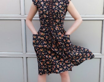 SOLD Do Not Buy 1950s Black Floral Swirl Wrap Dress 60s Vintage Orange Flower Bee Day Dress Cotton Work Wear Fit Flare Prairie Party Dress