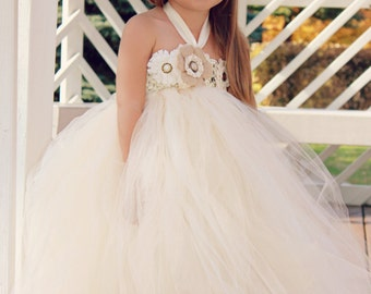 Country Couture Flower Girl Tutu Dress and matching headband/ Shabby Chic Wedding/ Rustic Wedding/ Country Wedding
