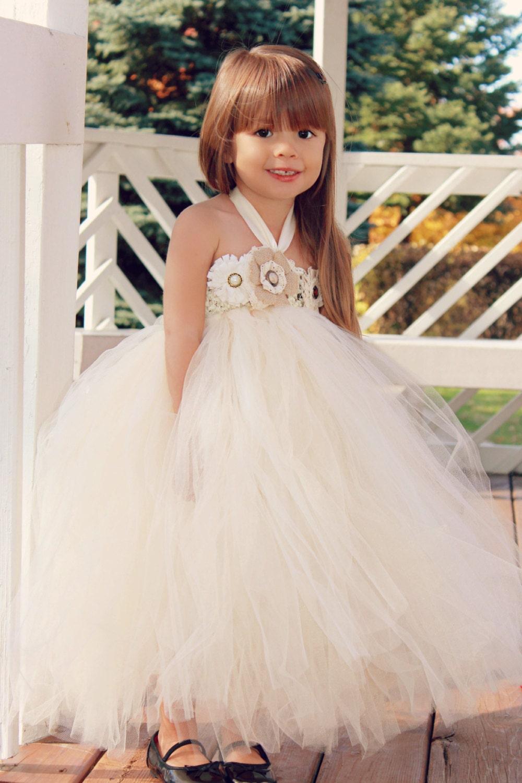 Country couture flower girl tutu dress shabby chic wedding for Wedding flowers girl dresses