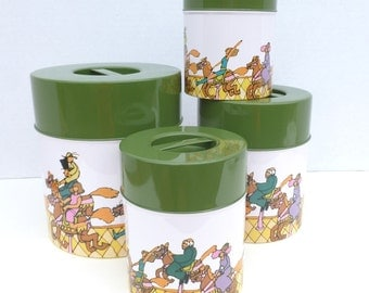 Kitchen Canisters Set Metal Tin Lithograph Print Peter Max Style Graphics with Avocado Green Lids Nesting Set of Four Storage Organization