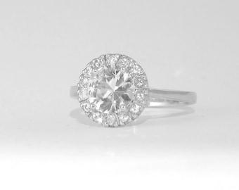 Natural 1 carat white Sapphire ring, Silver handmade engagement ring    P-041