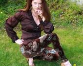 Ladies Limited Edition Glitter Enhanced Floral Velvet Leggings - pick your size
