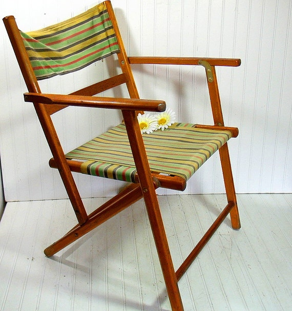 Vintage Wood and Canvas Folding Beach Chair Retro by DivineOrders