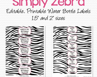 Water Bottle Labels, Black and White, Pink and Zebra Birthday Party Decoration, Shower Decor, Party Favor - Editable, Printable, Instant