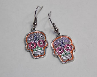 Multicolored Fiesta Pinup Sugar Skull Earrings - Custom Colors Available!