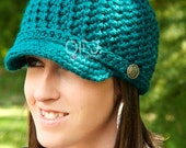 Women's Brimmed Beanie - Teal - READY TO SHIP