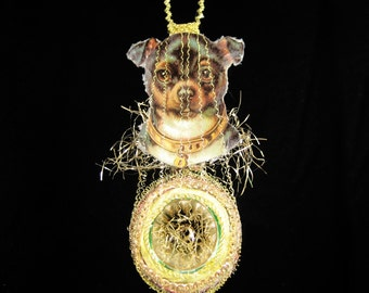 Victorian Christmas Ornament - Festive Chihuahua || Victorian ornament, handmade, vintage, antique, dog, wire wrapped