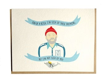 Life Aquatic, Steve Zissou, Bill Murray, Wes Anderson, Birthday, Anniversary, Just Because card, eco friendly card