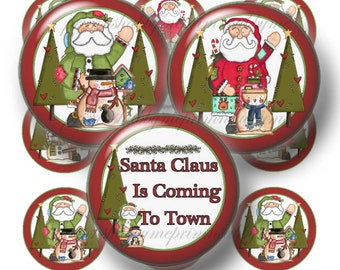 Instant Download, Digital Collage Sheet. Bottle Cap Images, ! Inch Circle, Digital, Printable, CHRISTMAS Santa Is Coming To Town