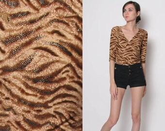Vintage 80s 90s Animal print 3/4 length sleeve crop top // S