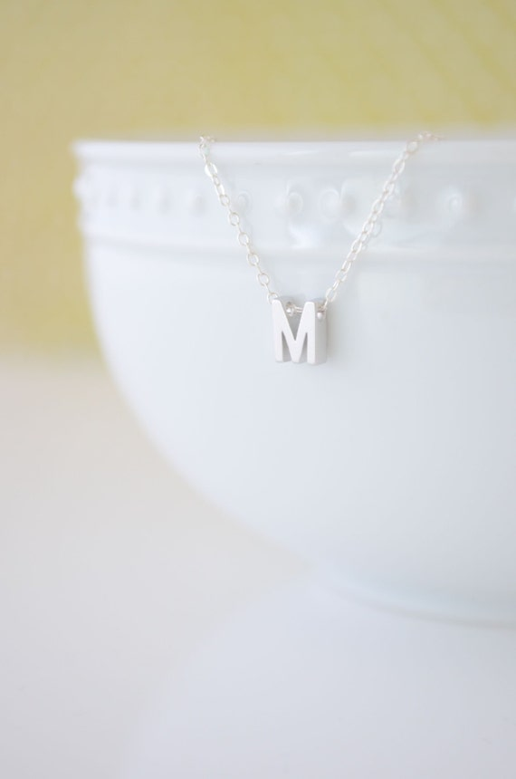 Tiny Silver Letter Necklace, Small Silver Capital Letter Necklace, Uppercase Initial Necklace, Silver Personalized Necklace, Olive Yew-1101