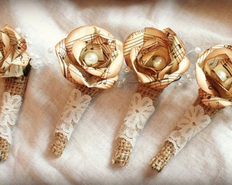 Pearl center, vintage music paper flower boutonniere.Sepia tones. Your choice of ribbon or other wrapping.