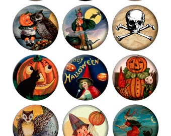 Vintage Halloween Printable 1-Inch Circles / Bottlecap Images / Pumpkin Witch Cat Owl Broom Moon / Digital Collage / Instant Download