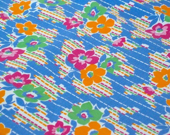 "Vintage Fabric - Pink, Green & Orange Flowers - Cotton Quilting - By the Yard x 35""W - Retro - Sewing Material - Craft Supply - Yardage"