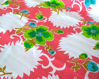 """Vintage Fabric -  Big Flowers - Lime & White on Coral Pink - By the Yard x 44""""W - 1960's - Retro - Sewing Material - Craft Supply - Yardage"""