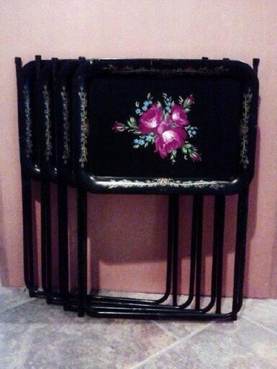 Vintage Metal Tv Trays Black With Floral Design And Border Set