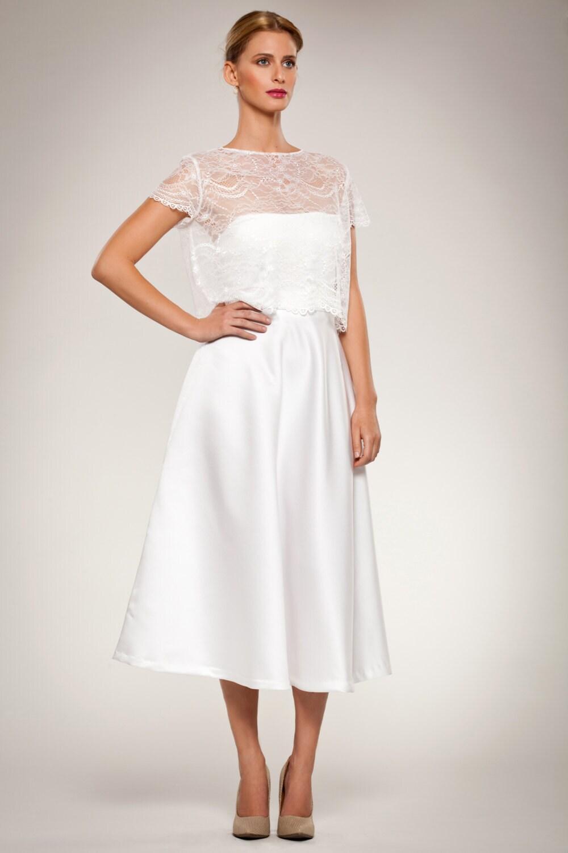 Skirt full flared satin calf length skirt with fitted waist for Calf length wedding dresses