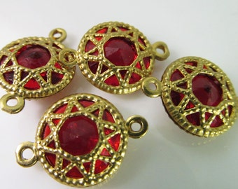 6 Vintage 18x13mm Ruby Red Faceted Brass Filigree Two-Loop Connectors Con211
