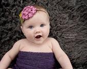 Baby Felt Flower Headband - Pink Violet - Burgundy Wine Headband - Hydrangea Headband - Wool Felt Headband - Baby Headband - Photo Prop