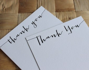Letterpress Thank You Cards - Calligraphy - Set of 10, 20, 35