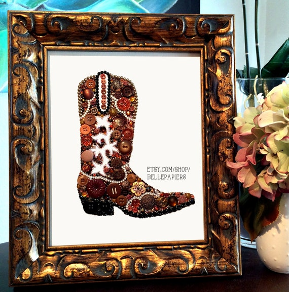 11x14 Button Art Cowboy Boot Cowgirl Boot Southwestern Art Button Art Swarovski Art Button Boot