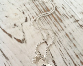 Cross Necklace . Heart  Necklace . Faith . Stamped Necklace . Stamped Cross . Cross . Faith . Heart