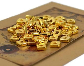 20 Mykonos Square Washer - 6mm Gold 24 Karat - Greek Ceramic Gold Square Bead