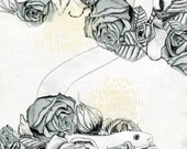 Digital Art Print - SNAKE - Mixed Media Black and White Natural Drawing, Roses and Animal Illustration