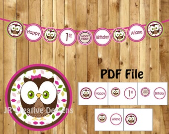 Look Whoo's 1 Girl Happy 1st Birthday Banner Owl Happy Birthday banner 1 year banner Girl 1st birthday party decor (DIY Printable File PDF)