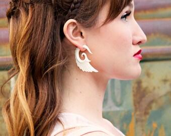 Fake Gauges Earrings Bone Earrings Wings White Angel Tribal Earrings - Gauges -FG002 B G2