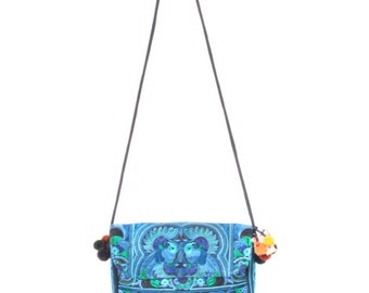 Blue Cross-Body Purse HMONG Embroidered Bag Handmade Fair Trade Thailand (BG177-BB)