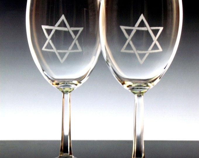 Star of David Wine glass set of 2, Hanukkah jewish holiday Chanukah Dining and entertaining home living hostess gift ideas holidays