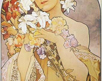 ART NOUVEAU Print Named FLOWER by Alphonse Mucha 1897