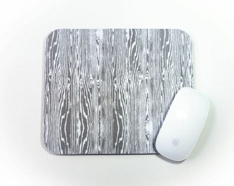 Mouse Pad / Faux Wood Grain Gray White / Home Office Decor / Mousepad / Slightly Smitten Kitten