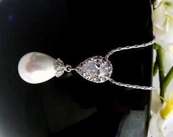 Wedding Bridal Necklace - Teardrop Pearl with a Peardrop Cubic Zirconia Bail Necklace in White Gold Plated Chain